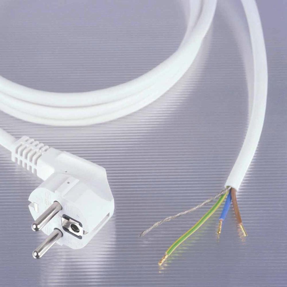 Geschirmte Anschlussleitung mit freiem Ende, ca. 4m lang, weiß